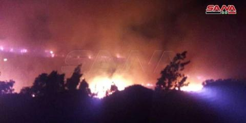 Fires in agricultural lands in Lattakia countryside, firefighting teams work in cooperation with army's helicopters to extinguish them