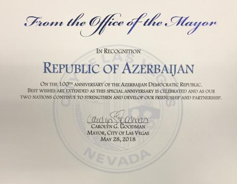 Mayor of Las Vegas signs a proclamation on centenary of Azerbaijan Democratic Republic