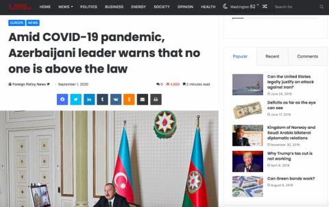 Foreign Policy News: Amid COVID-19 pandemic, Azerbaijani leader warns that no one is above the law