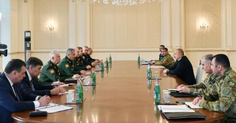 President Ilham Aliyev received delegation led by Russian defense minister