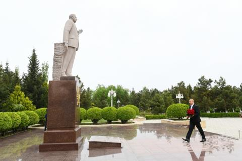 President Ilham Aliyev arrived in Hajigabul district for visit