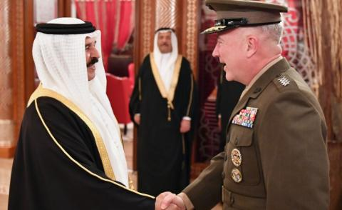 HM the King receives US commander..Bahrain confirms participation in preserving safety of maritime navigation and securing international corridors for trade and energy in the region