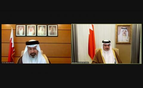 HRH the Crown Prince meets remotely with the President of the National Audit Office