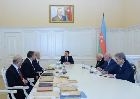 National flag once hung in the parliament of Azerbaijan Democratic Republic presented to the government