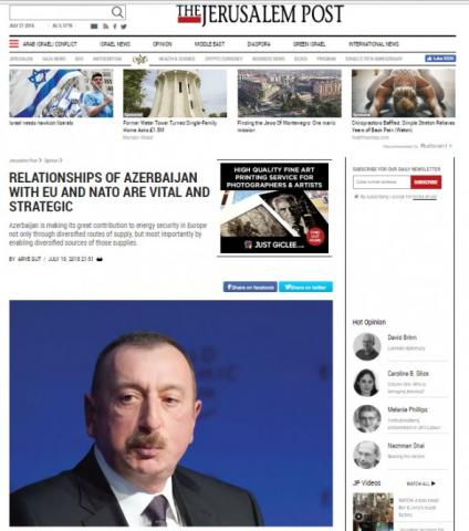 The Jerusalem Post: Relationships of Azerbaijan with EU and NATO are vital and strategic