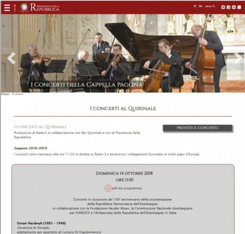 Azerbaijani music to be played at Presidential Palace in Italy