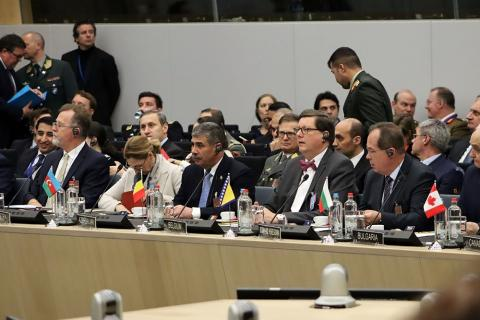 Azerbaijan`s defense minister attends NATO meeting