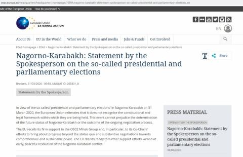 """EU issues statement on so-called """"presidential and parliamentary elections"""" in Azerbaijan's Nagorno-Karabakh region"""