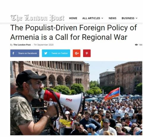 The London Post: The populist-driven foreign policy of Armenia is a call for regional war
