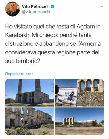 President of Committee on Foreign Affairs and Emigration of Italian Senate tweets on his visit to Azerbaijan's liberated city of Aghdam