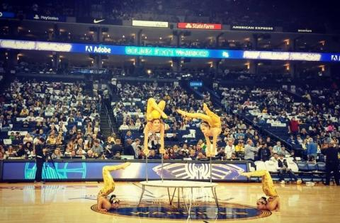 Mongolian Contortionists Perform During Nba Halftime Show