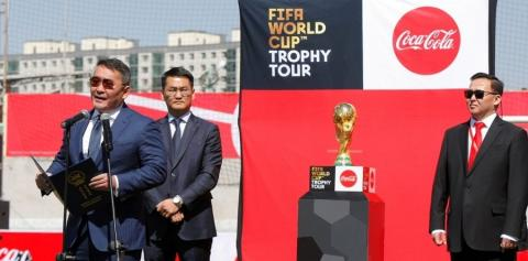 PRESIDENT OF MONGOLIA PRESENTS FIFA WORLD CUP TROPHY