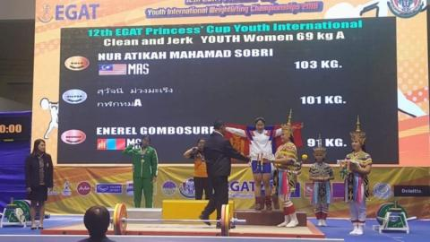 G.ENEREL CLAIMS BRONZE MEDAL IN WEIGHTLIFTING CHAMPIONSHIPS
