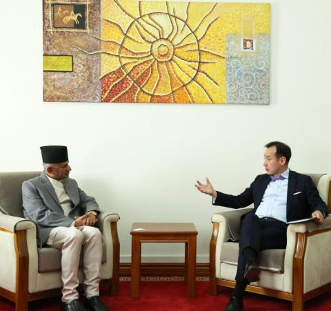 FOREIGN MINISTER RECEIVES HIS NEPALESE COUNTERPART