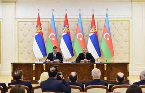 Azerbaijani, Serbian presidents made press statements