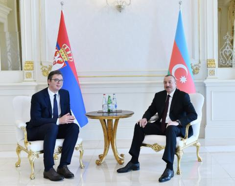 Azerbaijani President Ilham Aliyev and Serbian President Aleksandar Vucic held one-on-one meeting