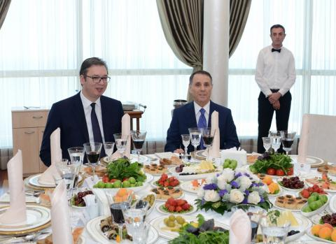 Azerbaijani PM, Serbian President have joint working dinner