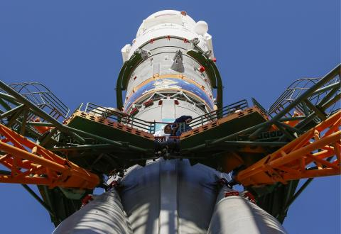 ISS-bound piloted spacecraft Soyuz MS-09 installed on launch pad at Baikonur spaceport