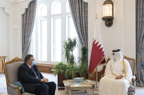 HH the Deputy Amir of Qatar Meets Chairman of Total