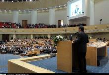 Ahmadinejad addressing National Festival of Communications and Information Techn